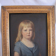 Portrait of a girl in a blue dress, oil on wood by Eugen Felix (Vienna 1837-1906) dated 1882
