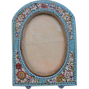 Micro Mosaic frame depicting white and red flowers on a turquoise ground,19th century