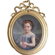 Antique Napoleon III painting depicting  a young girl, oil on canvas,signed Van Tarys and dated 1875