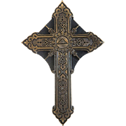 Antique Russian Gilt Bronze cross with engravings, 19th century