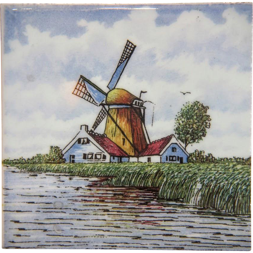 Vintage hand painted Delft tile depicting a yellow windmill, ca.1960