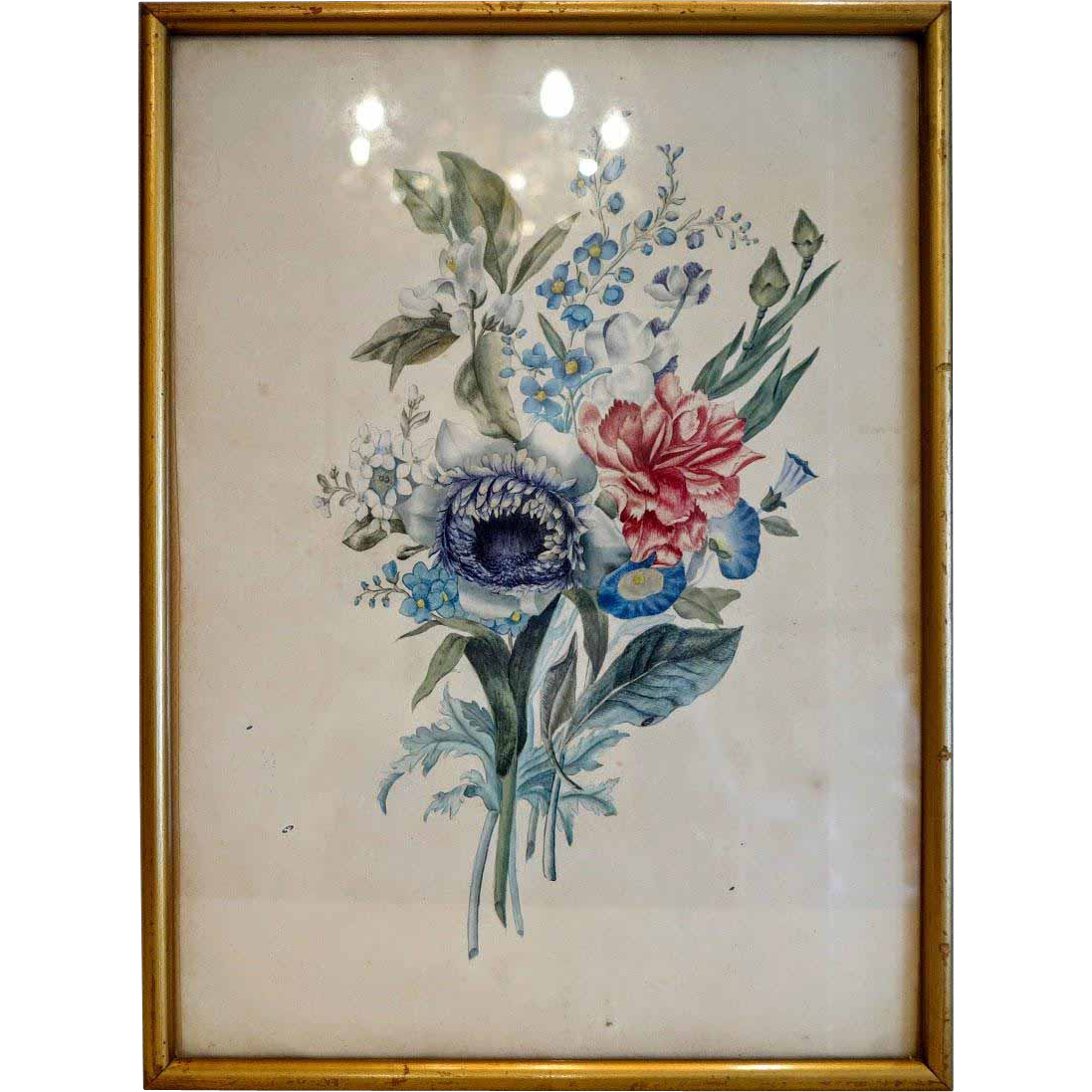 Antique water color painting depicting flowers, 19th century