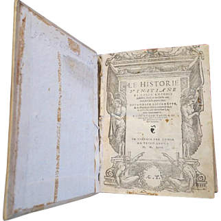Antique book dated 1554, history of Venice