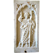Antique white marble relief depicting St. John the Baptist, 19th century