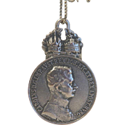 Antique  Austrian Habsburg coin  pendant , silver, 19th century