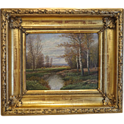 Antique landscape painting in gilt wood frame, oil on canvas,19th century