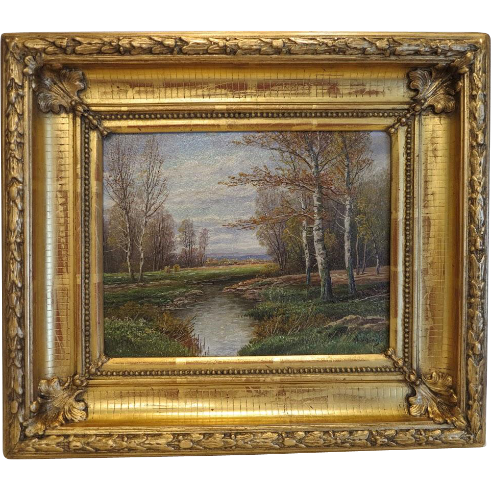 Antique landscape painting in gilt wood frame oil on for Framing canvas paintings