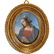 Vintage miniature depicting the Holy Virgin, gilt wood frame, 20th century