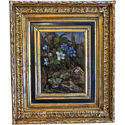 Antique flower painting, oil on canvas, signed and dated ca. 1820
