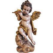 Vintage hand carved lime wood figure of an angel, early 20th century