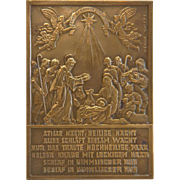 Gilt Bronze plaque depicting a nativity scene, signed Oscar Thiede, ca. 1910