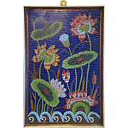 Vintage Cloisonne Enamel flower panel,20th century