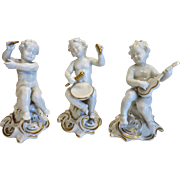 Three Vintage porcelain Putto figurines by Schaubach Kunst, Germany ca. 1950
