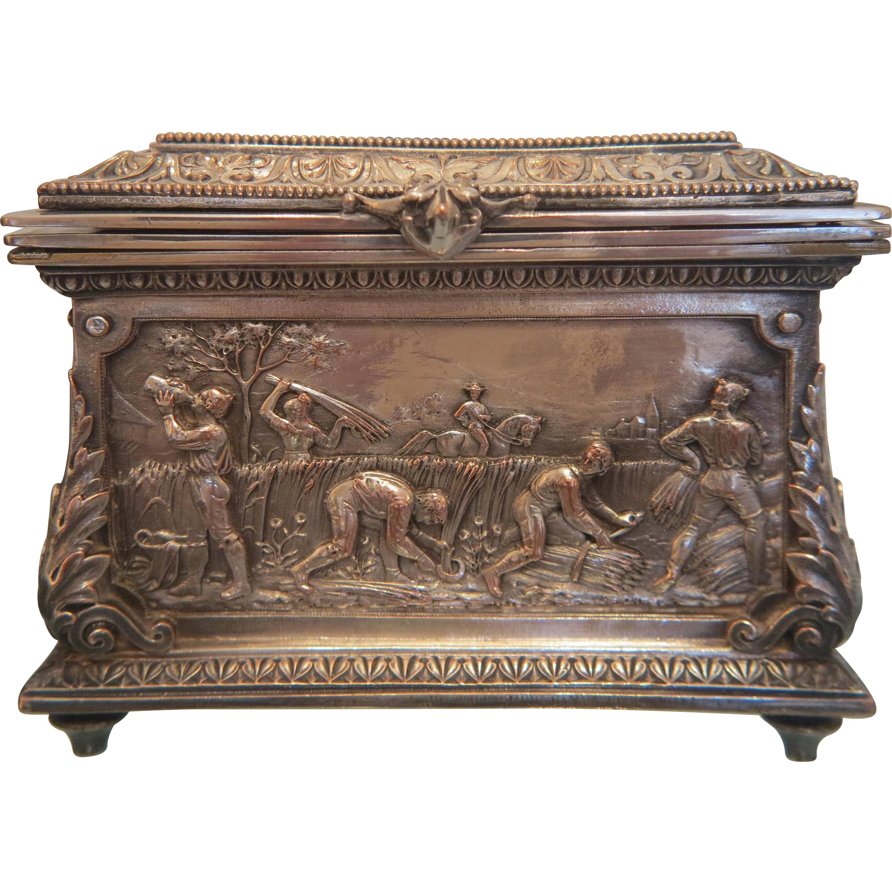 Antique Italian silver plated copper jewelry casket, 19th century