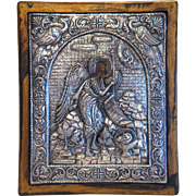 Greek Orthodox Icon with silver oklad, silver 950, 19th century