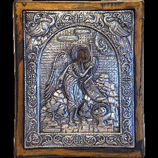 Greek Orthodox Icon with silver oklad, silver 950, 19th century