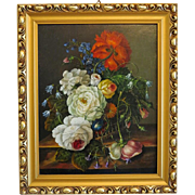 Antique flower painting, oil on canvas, signed and dated at the turn of the 20th century