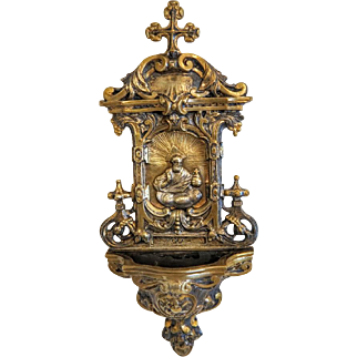 Antique Gilt Bronze Holy Water Font, , 19th century