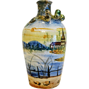 Vintage hand painted snake Majolica vase, Italy ca. 1950