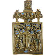Antique Russian Icon , blue enamelling, 19th century