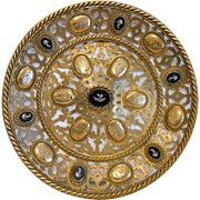 Antique Roman Micro Mosaic wall plate, Gilt Bronze, France 19th century