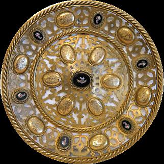 Antique Roman Micro Mosaic wall plate, Gilt Bronze, France 19th century
