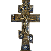 Antique Russian enamelled crucifix, 18th century