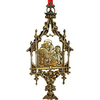 Antique Holy Virgin  wall hanging ,brass, 19th century
