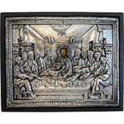 Greek Orthodox Icon with silver oklad, turn of 20th century