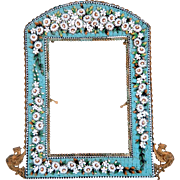 Antique Micro Mosaic frame, gilt metal, 19th century