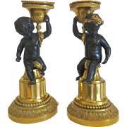 French Empire Gilt Bronze candle sticks, early  19th century