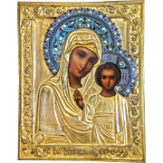 Antique Russian Icon of the Mother of God, enamel and gilt metal oklad, 19th century