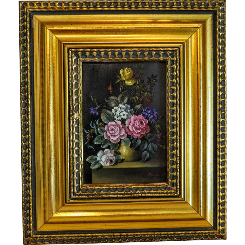 Flower Painting Oil On Wood Signed And Dated At The
