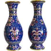 Antique Japanese Cloisonne Enamel baluster vases , Meiji Period , late 19th century
