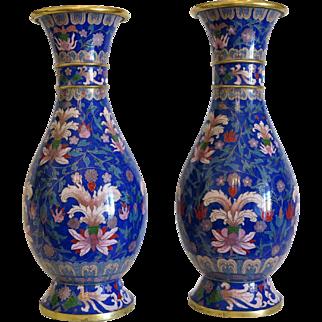 Antique Japanese Cloisonne Enamel baluster vases , Meiji Period , late 19th century
