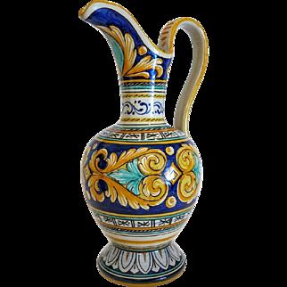 Vintage Italian Deruta claret jug, mid 20 th century