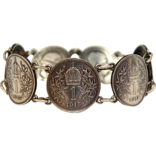 Antique  silver coin bracelet of the Habsburg monarchy ,early 20th century