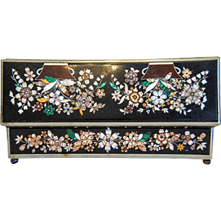 Antique Karlsbad Pietra Dura box, 19th century