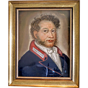 Antique Biedermeier  pastel painting of a gentleman, ca.1830