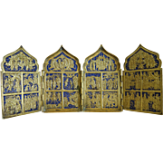 Antique Russian travelling Icon with royal blue enamel, 19th century