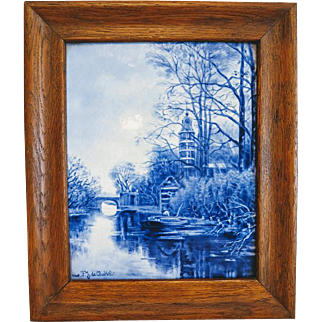 Antique Delft  Joost Thooft wall panel  after a painting of F.J. du Chatel, ca. 1910