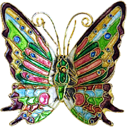 Antique colorful enamel butterfly , ca. 1910