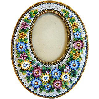 Antique Micro Mosaic flower frame, 19th century
