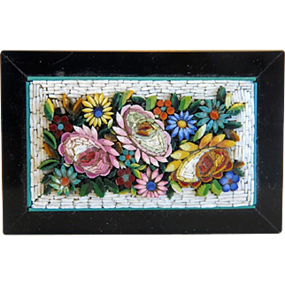 Antique Micro Mosaic paperweight with flowers, 19th century