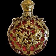 Antique ruby glass scent bottle, gilt metal, 19th century