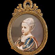 Antique miniature in a gilt bronze frame, 19th century