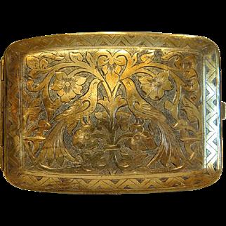 Antique brass cigarette case, 19th century