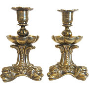 19th century pair of Gilt Bronze candle sticks