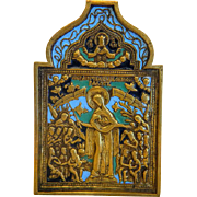 Antique Russian Icon , enamel and gilt metal, 19th century - Red Tag Sale Item