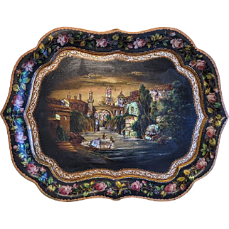 Antique hand painted tray, oil on copper, 19th century